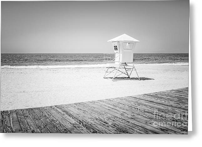 Laguna Beach Lifeguard Tower Black And White Photo Greeting Card