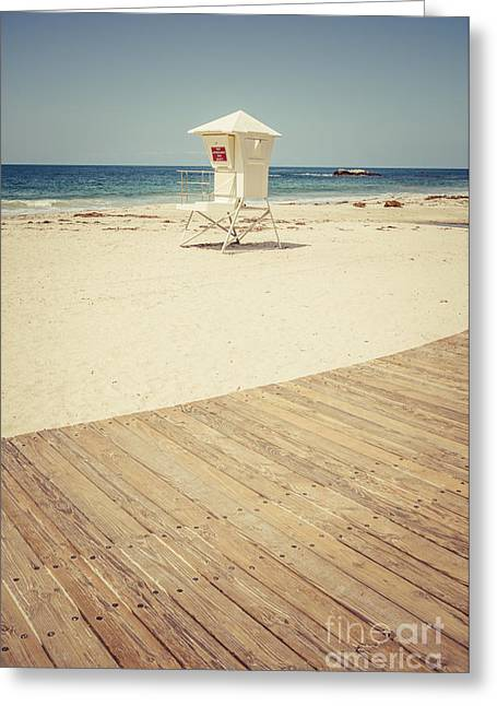 Laguna Beach Lifeguard Tower Retro Picture Greeting Card by Paul Velgos