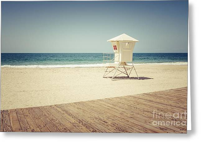Laguna Beach Lifeguard Tower Vintage Picture Greeting Card by Paul Velgos