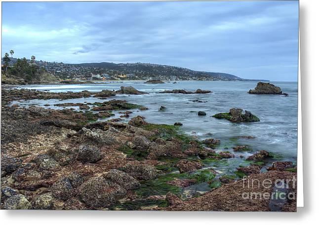 Laguna Beach Shoreline At Low Tide Greeting Card by Eddie Yerkish
