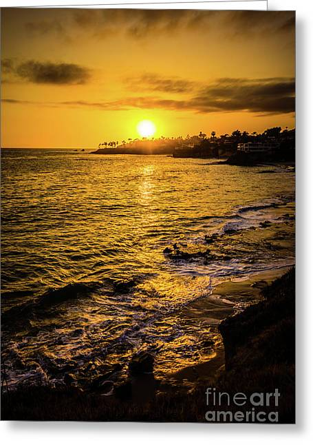 Laguna Beach Sunset Picture At Shaw's Cove Greeting Card