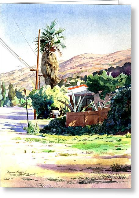 Greeting Card featuring the painting Laguna Canyon Palm by John Norman Stewart