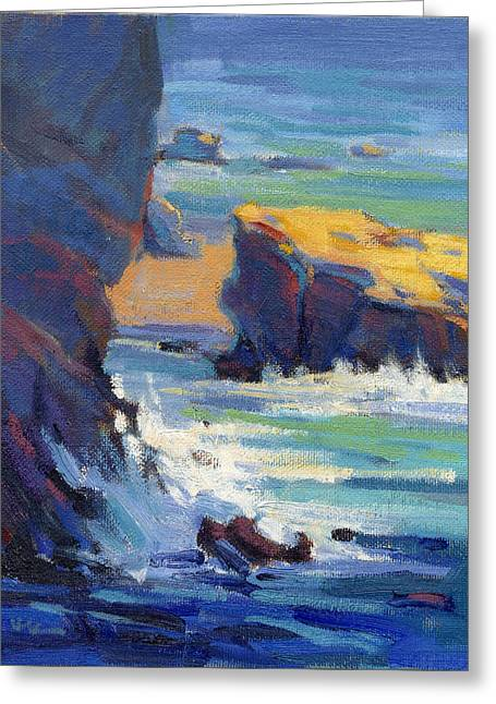 Greeting Card featuring the painting Laguna Rocks by Konnie Kim