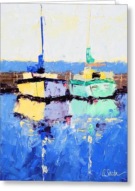 Lahaina Boats Greeting Card by Leslie Saeta