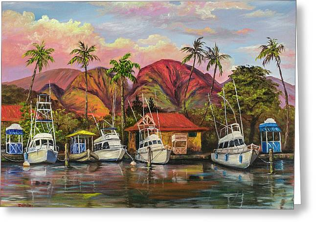 Greeting Card featuring the painting Lahaina Harbor Sunset by Darice Machel McGuire