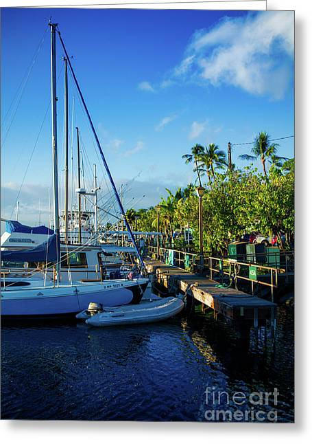 Greeting Card featuring the photograph Lahaina Marina Blue Twilight by Sharon Mau