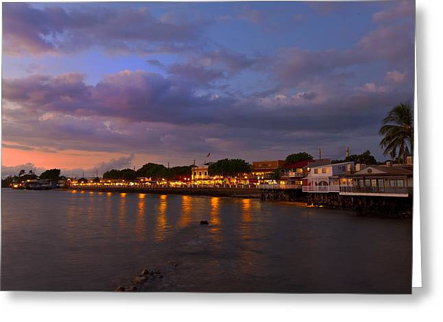 Lahaina Twilight Greeting Card by James Roemmling