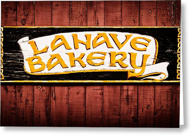 Lahave Bakery Sign Greeting Card by Carolyn Derstine