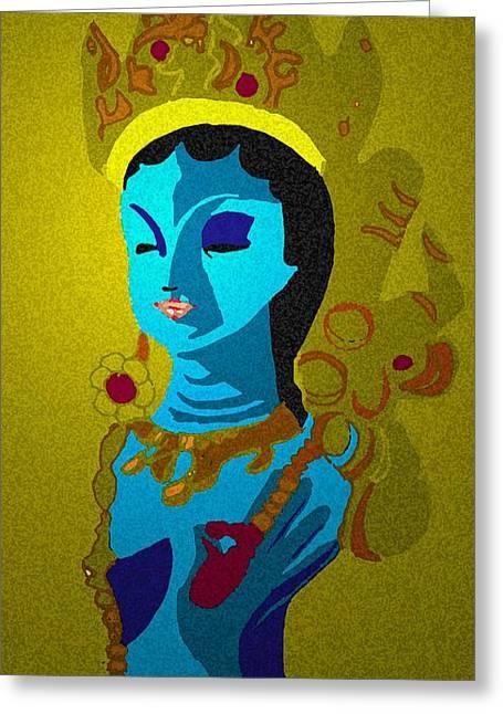 Hindu Goddess Mixed Media Greeting Cards - Lakashimi Gold Greeting Card by Jennifer Ott