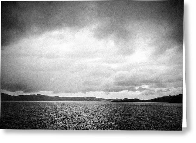 Lake And Dramatic Sky Black And White Greeting Card