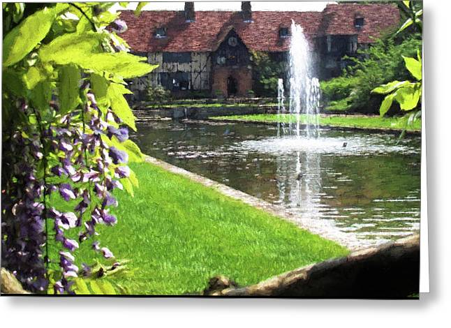 Lake And Fountain At Rhs Wisley Greeting Card by Jayne Wilson