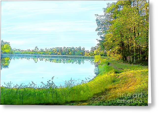 Lake And Woods Greeting Card