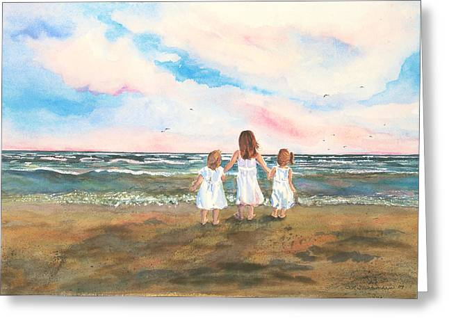 Greeting Card featuring the painting Lake Angels by Sandra Strohschein