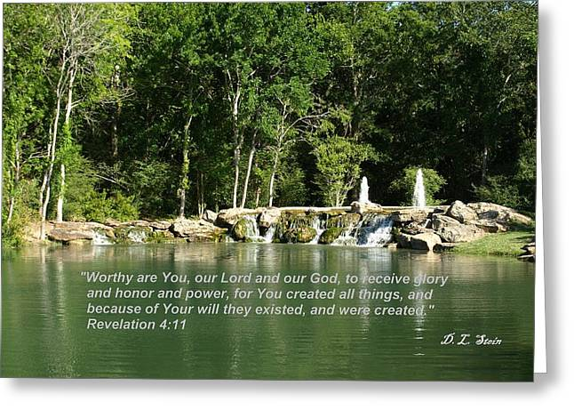 Lake At Cinco Ranch With Scripture Greeting Card by Dennis Stein