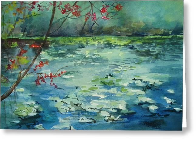 Lake At Jacksonville Arboretum Greeting Card by Marilyn Masters