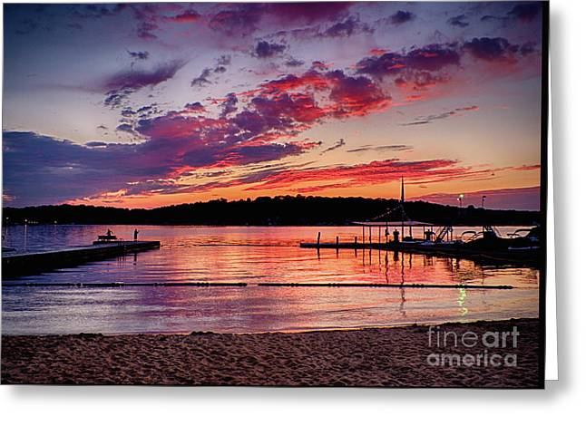 Lake Beach Sunset Greeting Card by Mark Miller