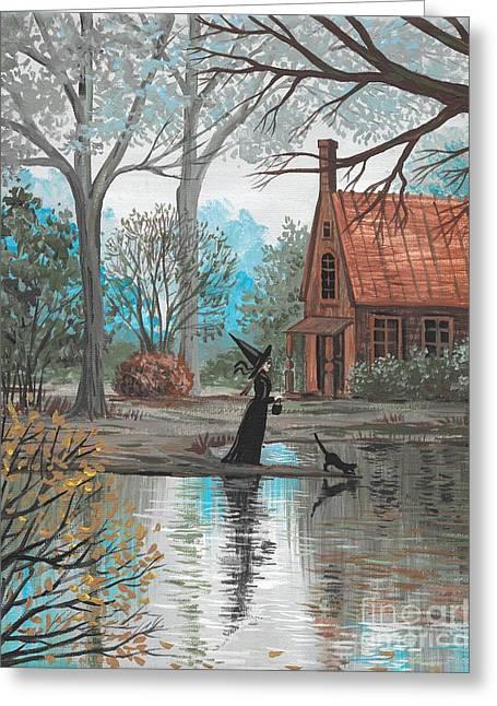 Lake Bewitched Greeting Card by Margaryta Yermolayeva
