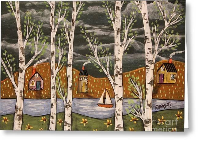 Lake Birches Greeting Card by Karla Gerard