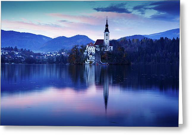 Lake Bled And The Island Church Greeting Card