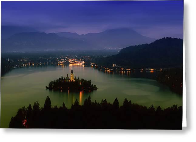 Lake Bled At Sunset Greeting Card by Artem Sapegin