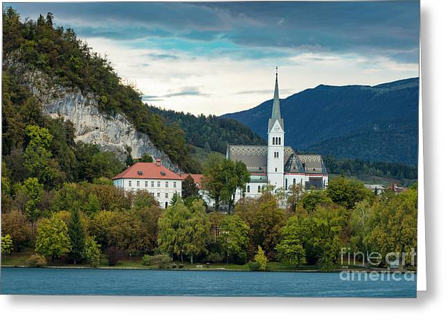 Lake Bled Church Greeting Card by Brian Jannsen