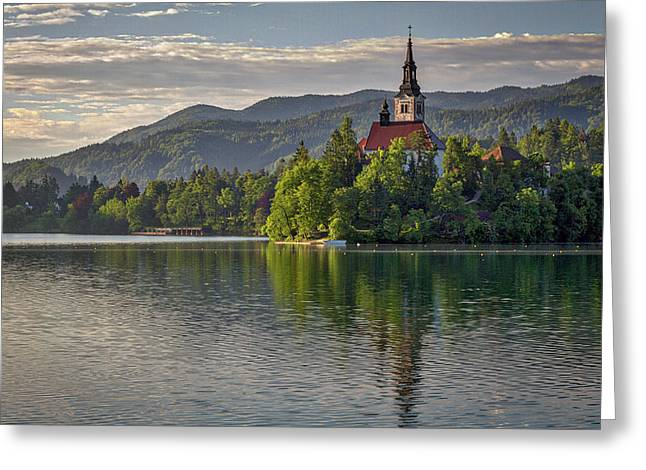 Greeting Card featuring the photograph Lake Bled Morning #2 - Slovenia by Stuart Litoff