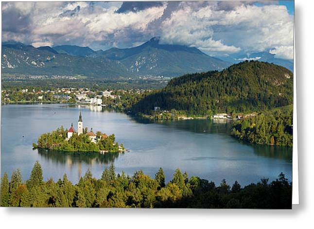 Greeting Card featuring the photograph Lake Bled Pano by Brian Jannsen