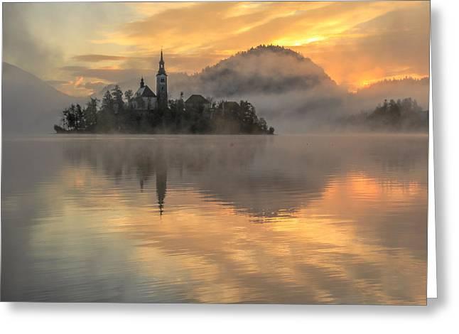 Lake Bled Sunrise Slovenia Greeting Card