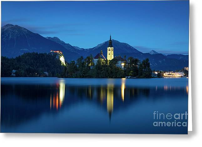 Lake Bled Twilight Greeting Card by Brian Jannsen
