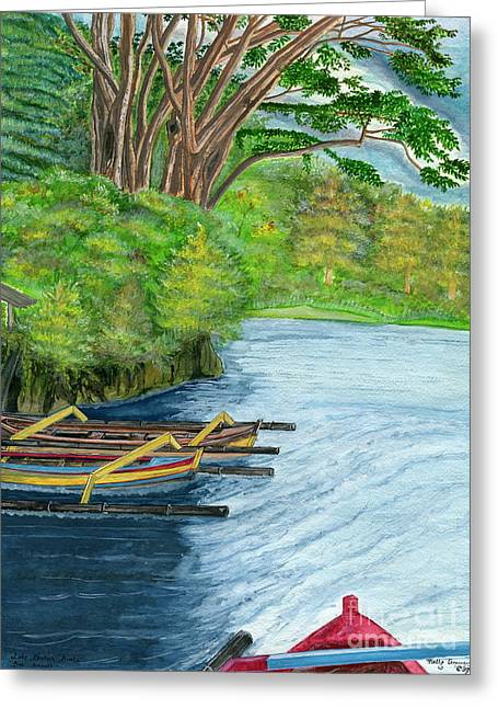 Greeting Card featuring the painting Lake Bratan Boats Bali Indonesia by Melly Terpening