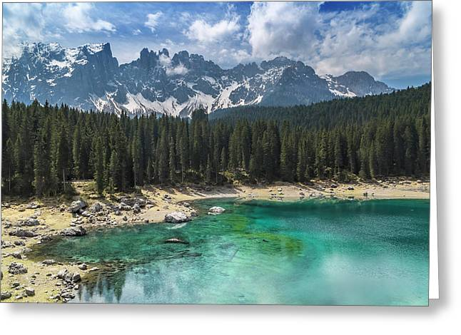 Lake Carezza And Mountain Range Greeting Card