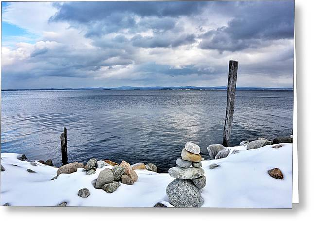 Greeting Card featuring the photograph Lake Champlain During Winter by Brendan Reals