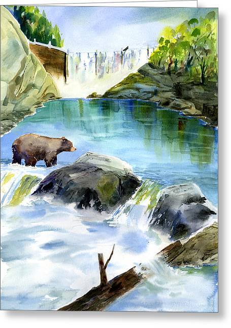 Lake Clementine Falls Bear Greeting Card