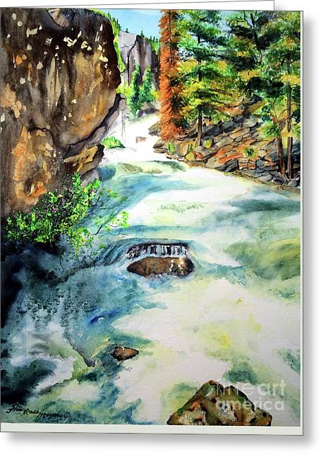 Lake Como Waterfall Greeting Card by Tracy Rose Moyers