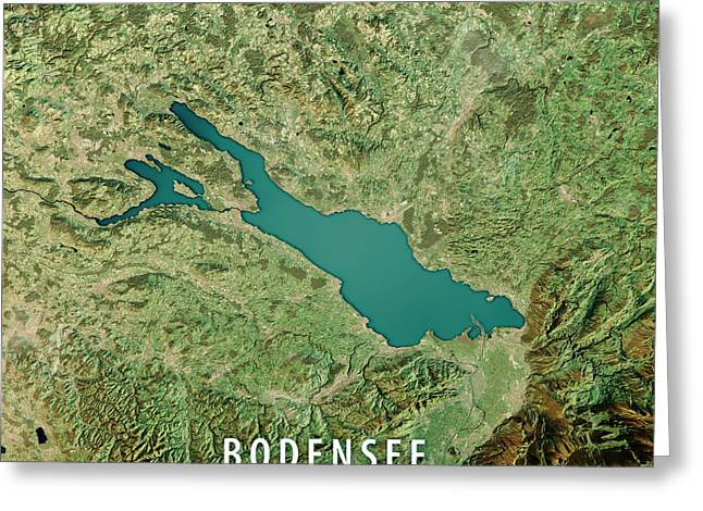 Lake Constance 3d Render Satellite View Topographic Map Greeting Card