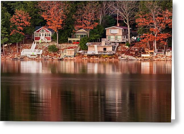 Lake Cottages Reflections Greeting Card