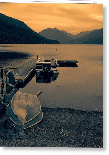 Lake Crescent Boats At Sunset Greeting Card by Dan Sproul