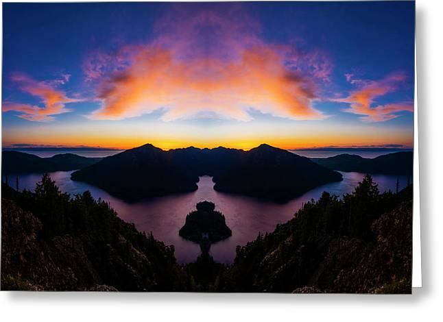 Lake Crescent Reflection Greeting Card