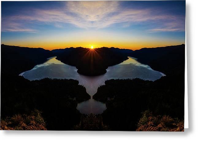 Lake Crescent Sunset Reflection Greeting Card