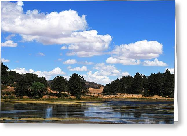 Lake Cuyamac Landscape And Clouds Greeting Card