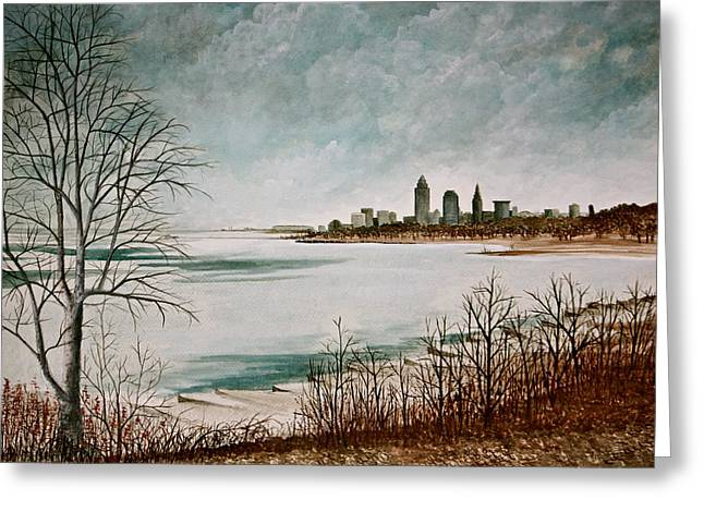 Lake Erie Winter Greeting Card by MB Matthews