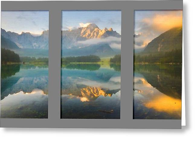 Lake Fusine In Triptych Greeting Card by Mario Carini