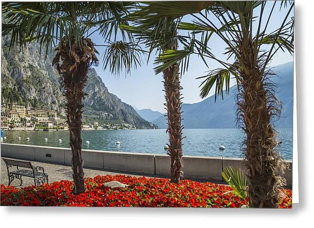 Lake Garda Gorgeous Riverside Limone Sul Garda Greeting Card by Melanie Viola