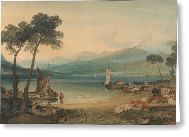 Lake Geneva And Mount Blanc Greeting Card by Joseph Mallord William Turner