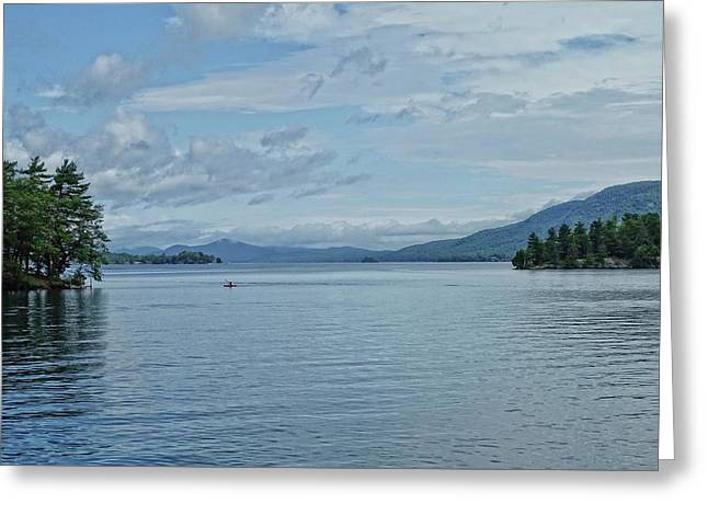Lake George Kayaker Greeting Card