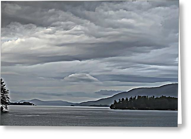 Lake George Rain And Clouds Greeting Card