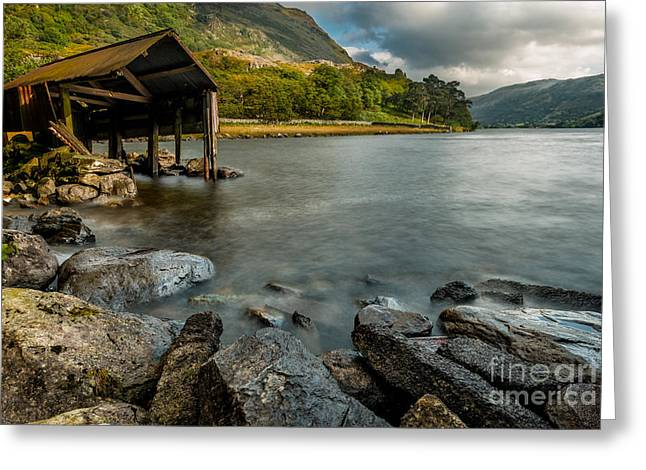 Lake Gwynant Autumn Greeting Card by Adrian Evans