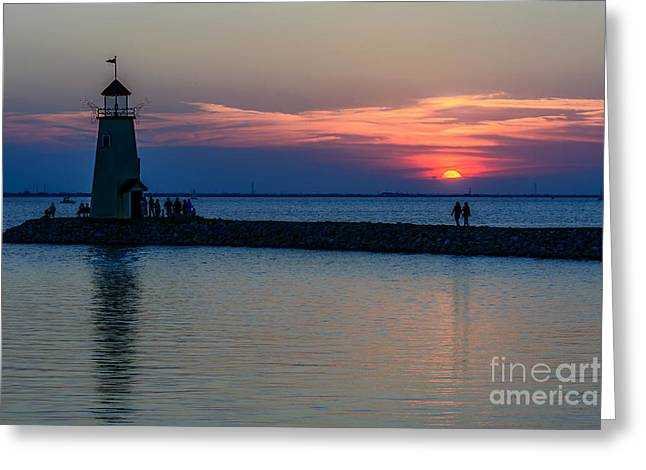 Lake Hefner Evening Stroll Greeting Card by Tamyra Ayles