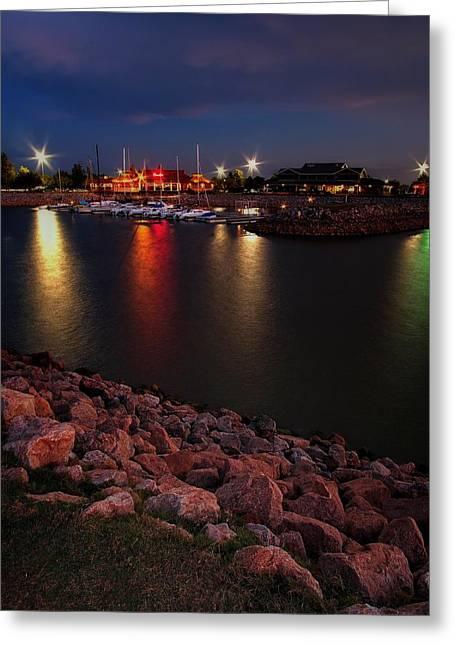 Lake Hefner Reflections  Greeting Card by Buck Buchanan
