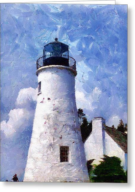 Lake Huron Lighthouse Greeting Card by Darrell Foltz